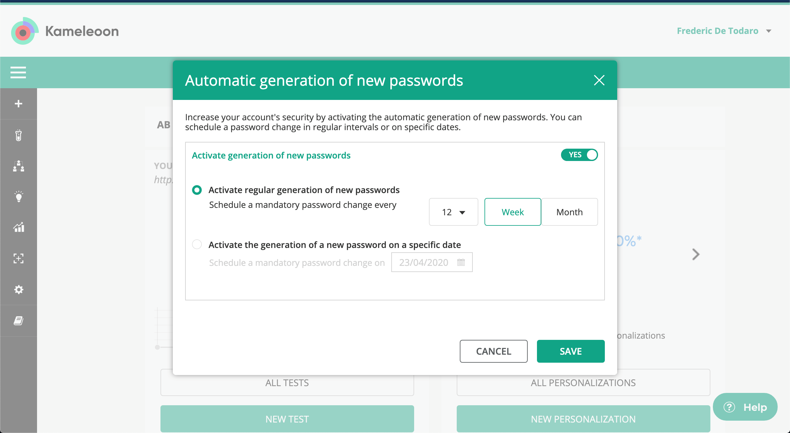 Automatic generation of new passwords