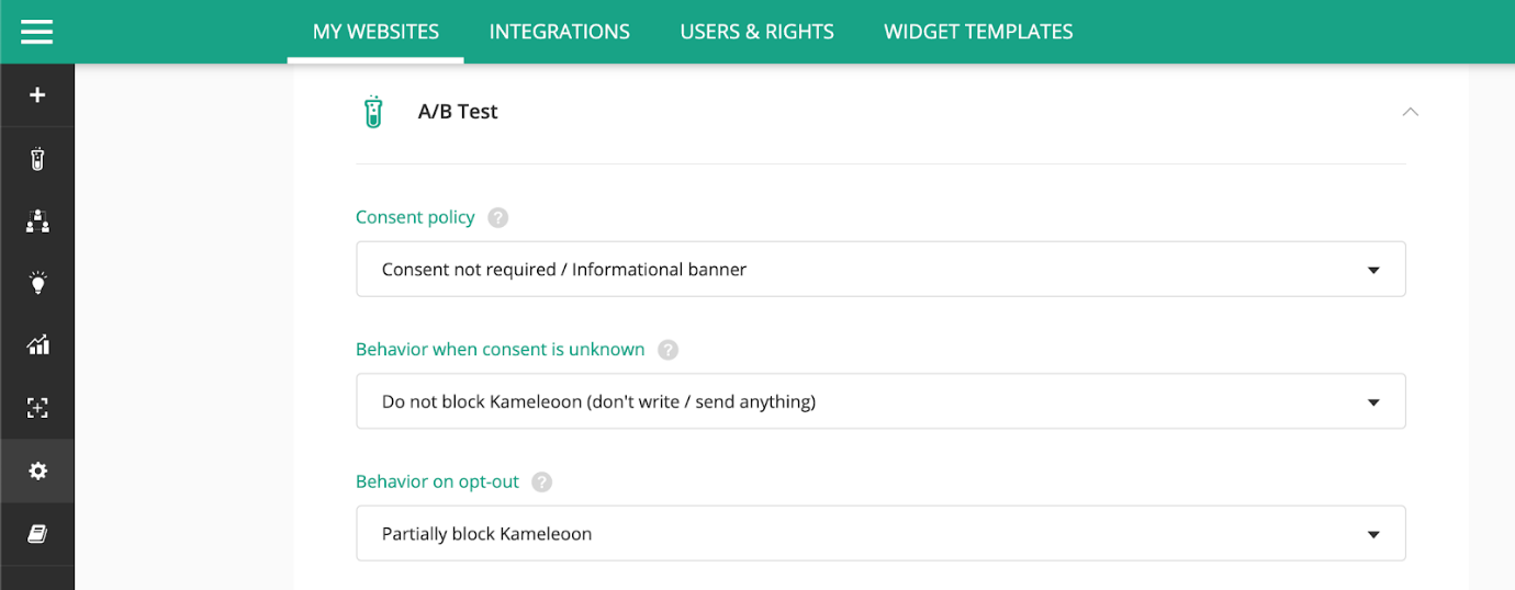 Kameleoon Flexible Consent Management