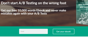 form on our landing page for the ebook on A/B testing mistakes as example for placeholder instead of label