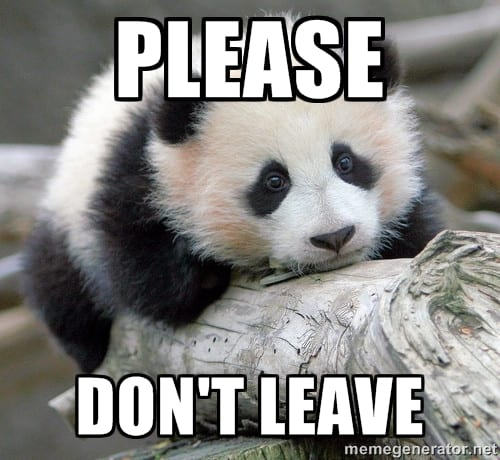 Cute panda asking the visitors of his website not to leave