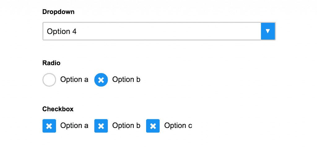 dropdown checkbox or radio button examples
