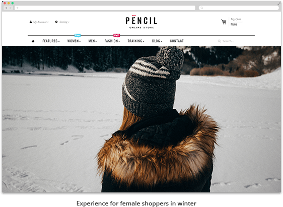 homepage of a website peronsalized for a woman in winter - beginner guide visitor segmentation