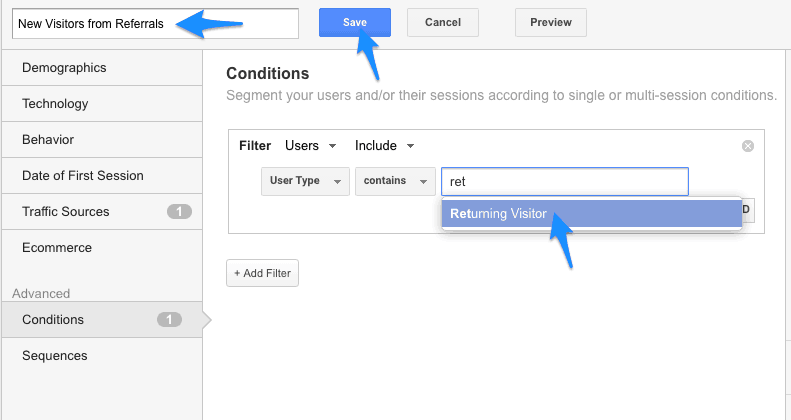"search ""new visitor"", give your segment a name, click ""save"" - google analytics"