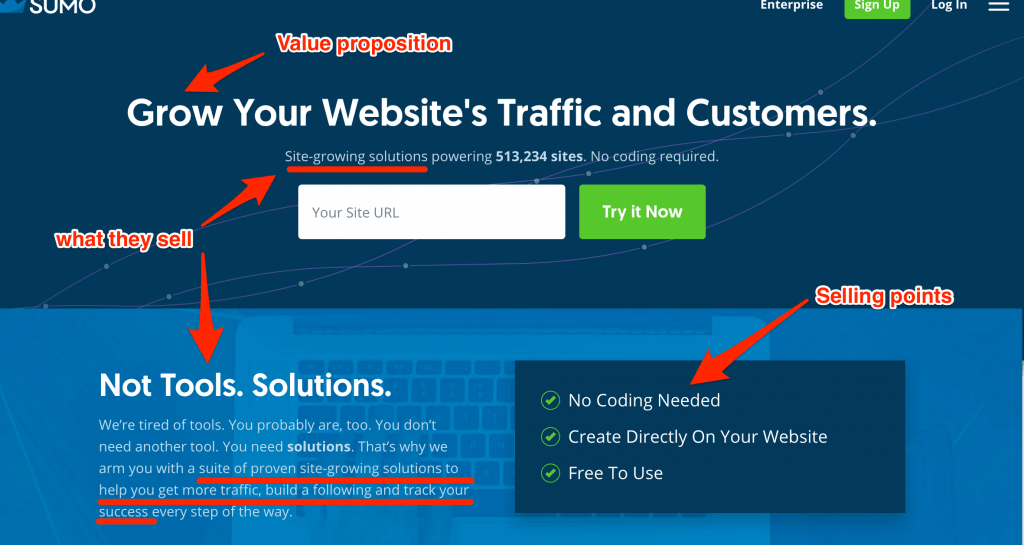 Break down of sumo.com homepage, showing how good and simple it is: clear value proposition, selling points and what they sell